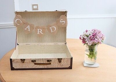 One Off Shabby Chic Rustic Travel Vintage Map Wedding Suitcase Cards Box Bunting