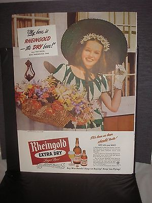 6 Diff. 1945 Rheingold Beer Paper Advertisements Suitable For Framing