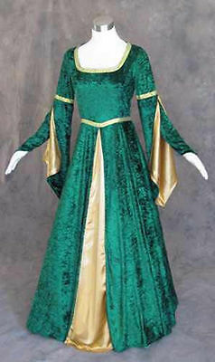 Green Velvet Medieval Renaissance Cosplay Wench LARP Dress Costume Gown Size 2X