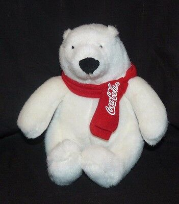 Coca Cola Polar Bear Plush 2007 Best Play Red Scarf European Community 7""