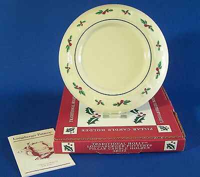 Longaberger Pillar Candle Holder Traditional Holly #38032 Pottery