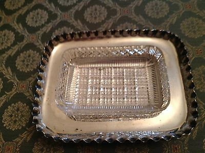 JAMES DIXON & SONS Sheffield Silver Plate Glass Butter Dish Dating from 1881 -