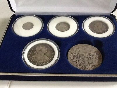 5 Silver Coin Set Spanish Reales National Collectors Mint