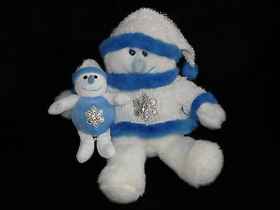 Chad Valley Snow Man Snow Woman And Baby Soft Toy White And Blue Snowflake