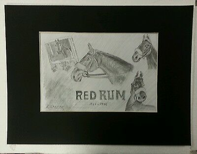RED RUM ORIGINAL PENCIL DRAWING BY KJARTIST MOUNTED SIZE 50 x 37 cm