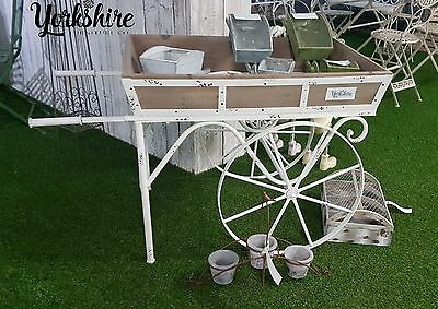 Large Wooden Barrow Cart Wheel Retail Shop Salon Product Shelving Display Stand