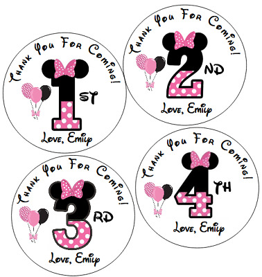 9 Personalized Minnie Mouse Party Stickers3 1 4Birthday