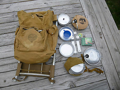 Vintage Canvas Boy Scout 1307 D Camping Backpack Frontier Lite Alum Rack Hiking