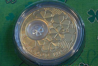 1oz Silver 4 Leaf Clover Coin 24k Gold Gilded with Silver Charm in Box with COA