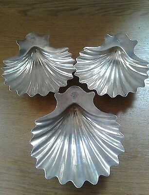 Set of three Antique Silver Shell Butter dishes