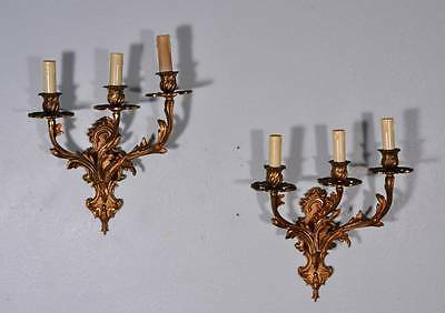 French Louis XV Style Antique Bronze Three Arm Sconces/Candelabra (K)