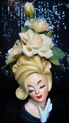 "Exquisite Ultra Rare 7"" Head Vase Sophisticated Lady W/original Flowers Headvase"