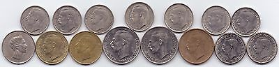 15 Coins Luxembourg 50 20 10 5 1 Francs (1962-1990)