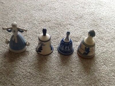 4 Ringing Bell Ornaments / Spain / Holland And More