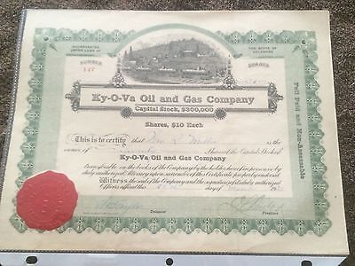 1920 Vintage Stock Certificate Ky-O-Va Oil and Gas Company state of Delaware