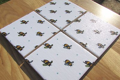 Gorgeous Sophie Allport Set Of 4 Ceramic Coasters 'busy Bee' Fabric Handmade