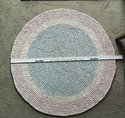 Handmade Crocheted Rag Rug Round 34 Inches Pink White And Blue
