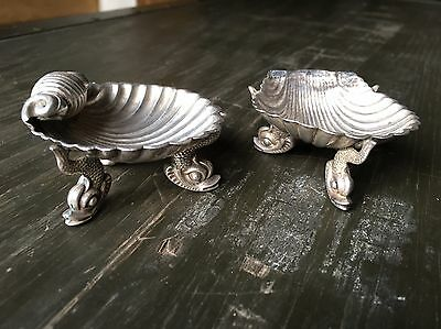 Antique Pair Of Solid Silver Shell Salts On Dolphin Fish Feet Salt Dishes Set