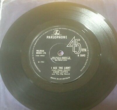Simon Dupree And The Big Sound/uk Psych/mod Parlophone I See The Light Ex