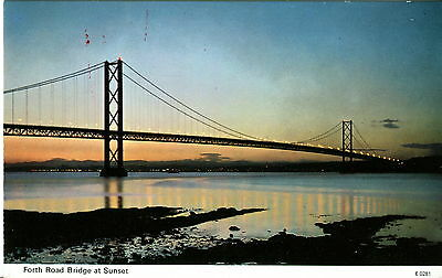 Forth Road Bridge at Sunset. Scotland. Dennis Productions Postcard. Uncirculated