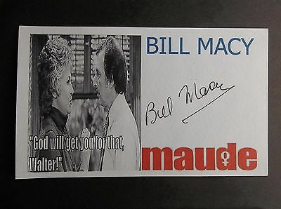 """Maude"" Bill Macy ""Walter"" Autographed 3x5 Index Card"