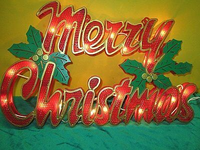 "Large Vintage MERRY CHRISTMAS Sign Lights Up Window Door Wall Works 17""x 11"""