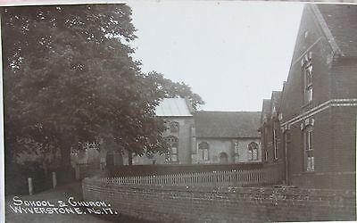 The School & Church At Wyverstone Near Stowmarket Suffolk 1915 Rp Pc