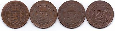 4 COINS LUXEMBOURG LETZEBURG 10 CENTIMES 1860 A, 1860.(dot) x2, no date.