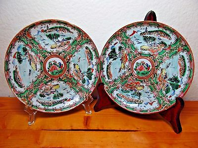 Antique Chinese Rose Medallion Enamel Set of Two 2 Round 6 inch Plates