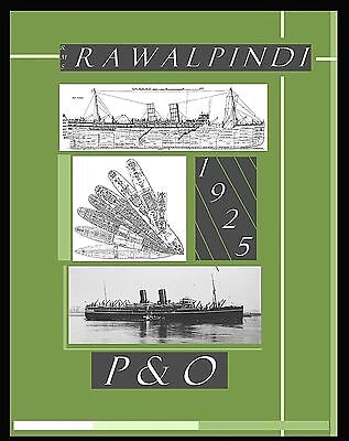 Rms RAWALPINDI 1925 P&O: Superb,Complete Retractable GA Deck Plans/Profile