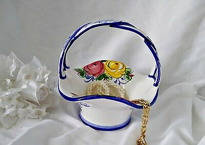 Hand-painted Floral Basket Candy Dish Made in Ponth Portugal Flow Blue 443