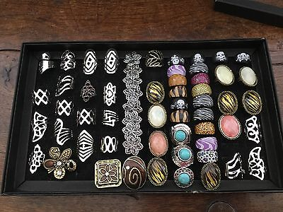 Wholesale job lot bundle costume jewellery mixed rings Plus display box