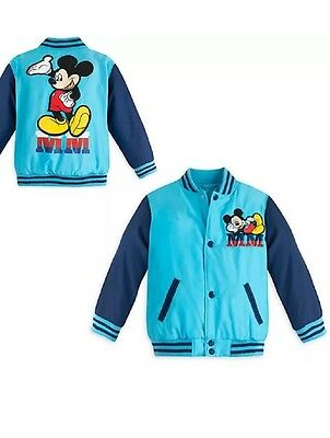 Mickey Mouse Varsity Jacket NWT Disney Store Blue Quilted Lining boys size 7/8
