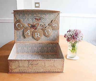 One Off Shabby Chic Rustic Travel Map Vintage Wedding Suitcase Cards Box Bunting