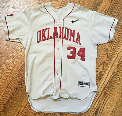 Oklahoma Sooners Nike Authentic Grey Baseball Game Used / Issued Jersey