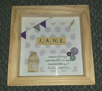 Personalised Scrabble Art New Baby Decorative Frame Christening / Nursery Gift