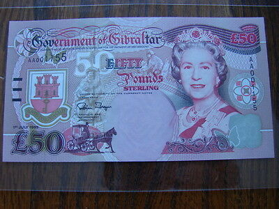 Gibraltar £50 Pound Banknote, Early Issue Number AA001155 1st July 1995