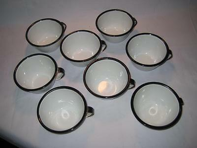 Rare Vintage Set of  8 White with Black Trim Enamelware Coffee / Tea Cups