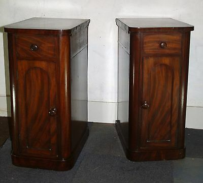 Pair of bedside cabinets antique Victorian mahogany night stands 1860
