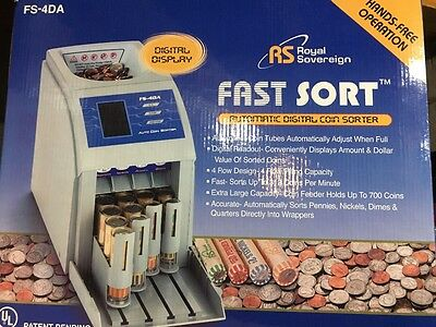 Royal Sovereign Fast Sort FS-44P Digital Coin Sorter Pennies Through Quarters...