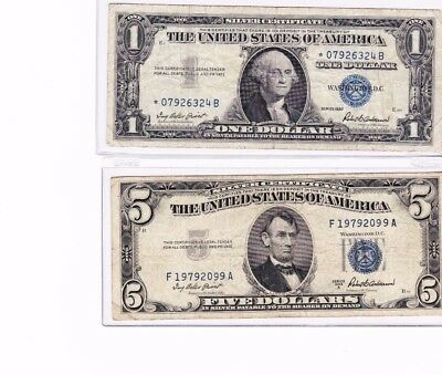 1957 One Dollar High Circulation Silver Certificate Blue Seal Note - $1 Bill