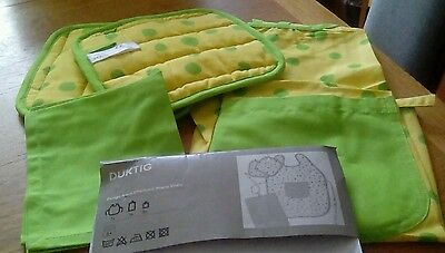 Ikea child's cotton apron, oven pads, & tea towel. Duktig. Yellow/green. New