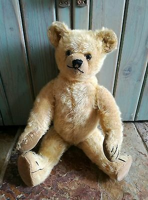 OLD VINTAGE ANTIQUE FARNELL GOLDEN MOHAIR TEDDY BEAR SOFT TOY C. 1920's-30's