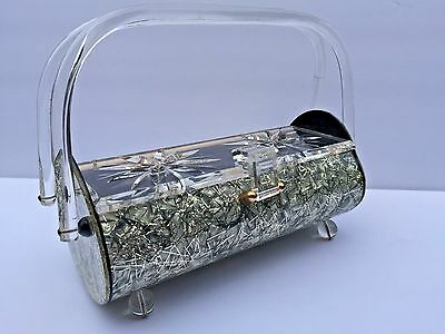 Vintage Rare Gilli Originals Lucite silver gold Threads Purse Handbag DBL HANDLE