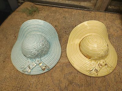 Vintage Ceramic Cream and Blue Bow Wall Hanging Pocket Hat x 2