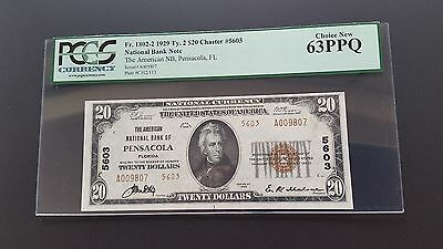 1929 $20 National Currency Anb Of Pensacola , Fl - Pcgs 63 Chnew !