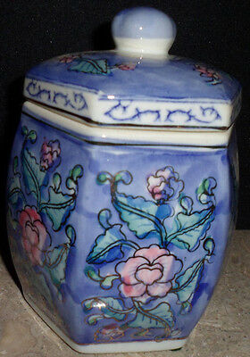 Hand Painted Floral Design Octogon Ceramic Ginger Jar Dome Lid China 5 1/2""