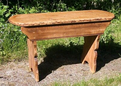 Antique pine two seater bench stool small table