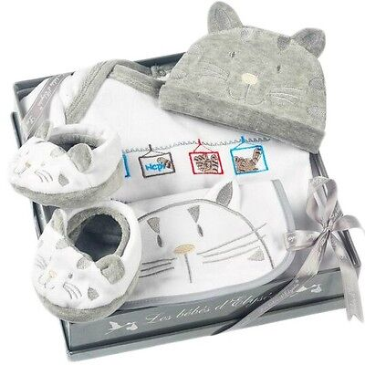 Kitty 4 Piece Grey Gift Set By Les Bebes D'elysea