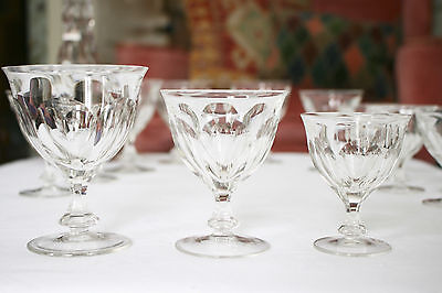 A Good  Set of 12 Graduated c19th Facet Cut Drinking Glasses, Goblet Profile